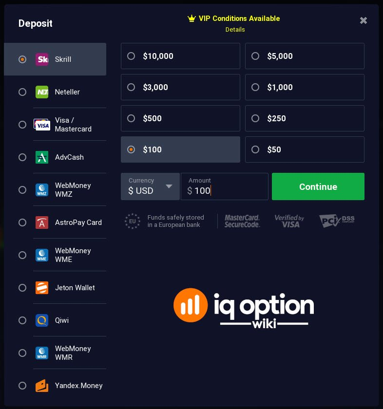 deposit iq option