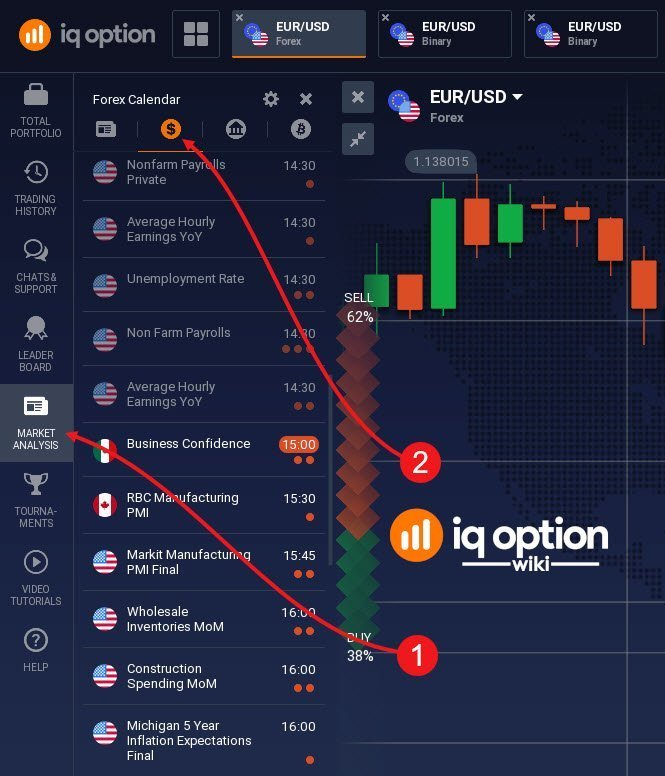 calendar iq option basic settings