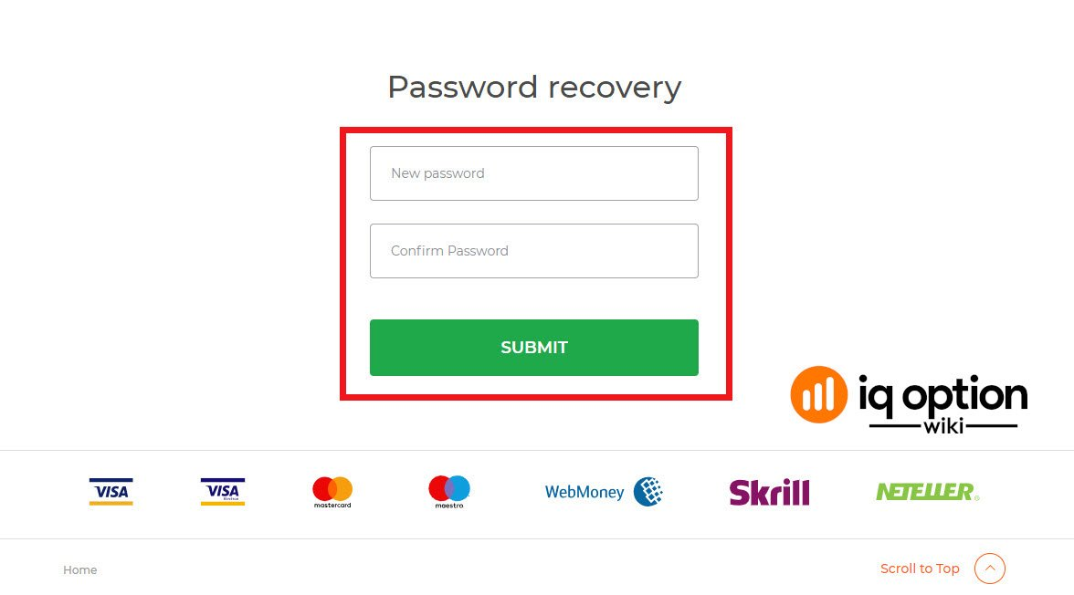 Enter new password with conirmation