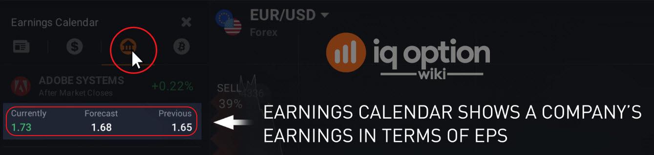 Earnings calendar at IQ Option