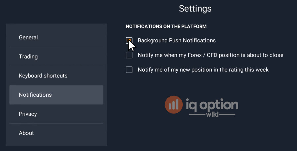 notifications settings for IQ Option platform