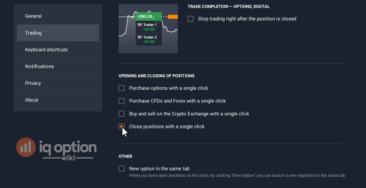 trading settings on iq option platform