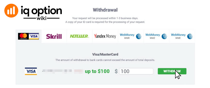 Withdrawal page with card withdrawal tab